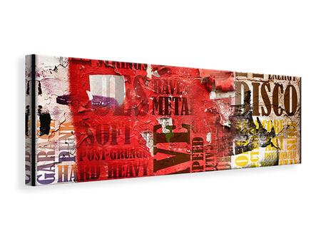 Panoramic Canvas Print Music Text In Grunge Style