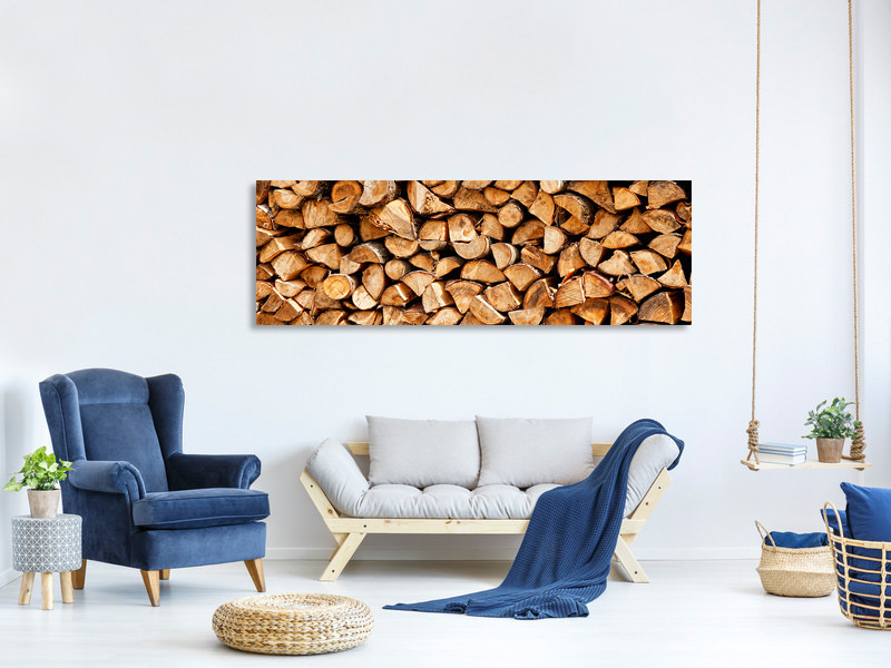 Panoramic Canvas Print Stacked Wood