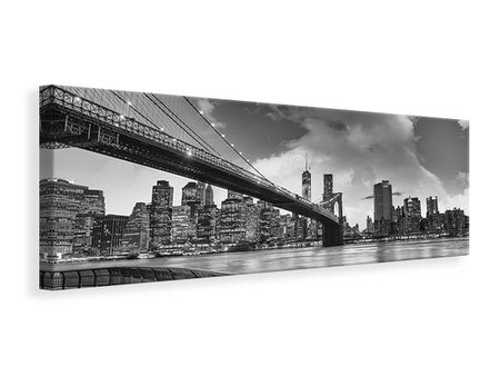 Billede på lærred panorama Skyline Black And White Photography Brooklyn Bridge NY