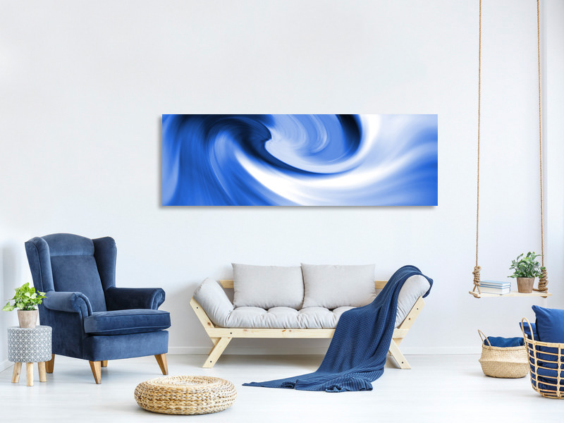 Panoramic Canvas Print Abstract Blue Wave