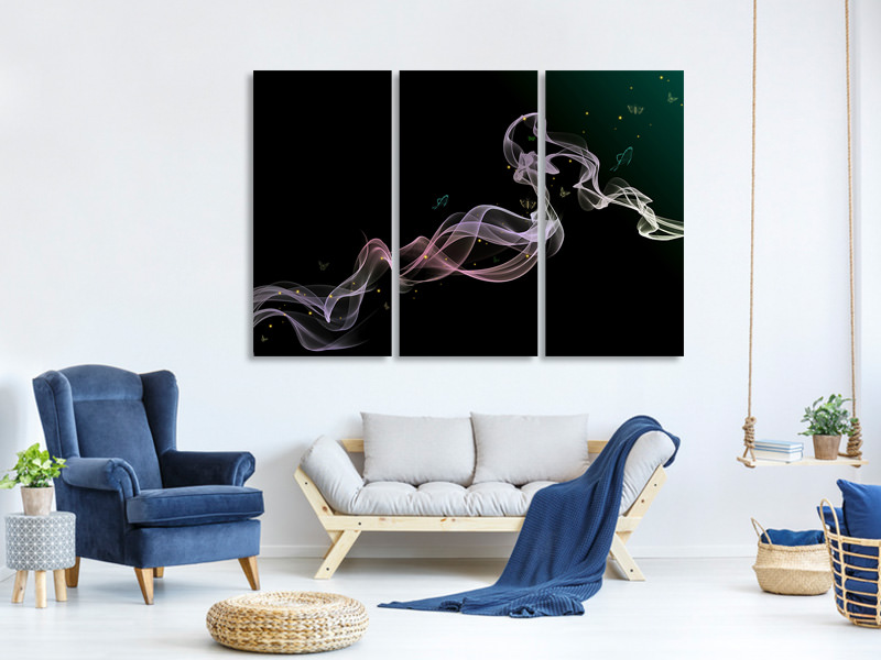 3 Piece Canvas Print Colorful smoke
