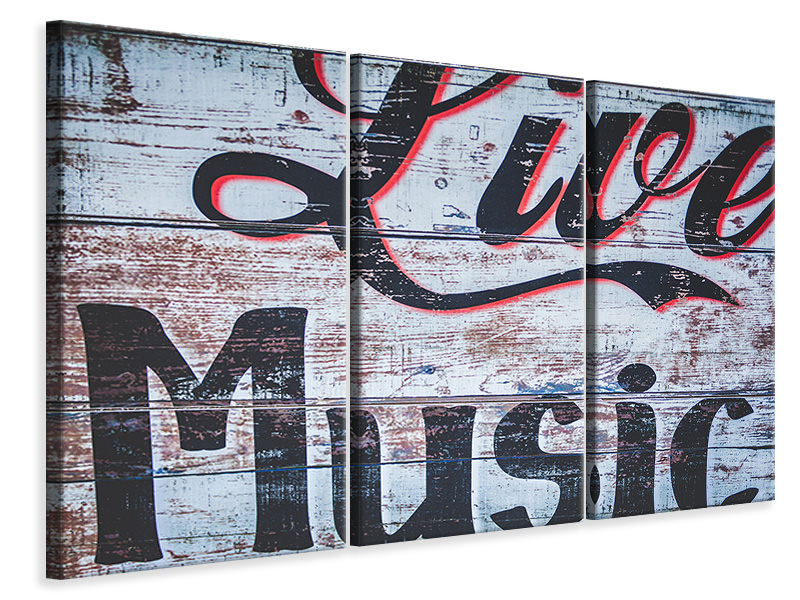 3 Piece Canvas Print Retro wooden wall