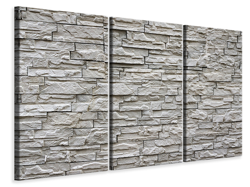 3 Piece Canvas Print Stone wall design