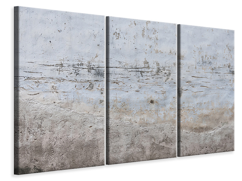 3 Piece Canvas Print Stone wall pattern