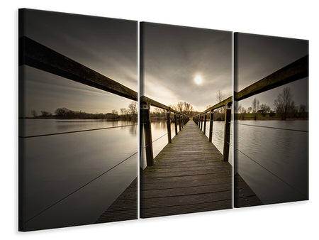 3 Piece Canvas Print The Wooden Bridge