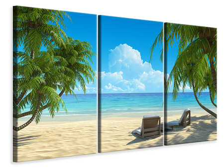 3 Piece Canvas Print Beach Paradise