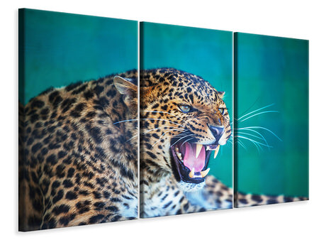 3 Piece Canvas Print Attention Leopard
