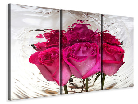 3 Piece Canvas Print The Rose Reflection