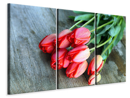 3 Piece Canvas Print The Red Tulip Bouquet
