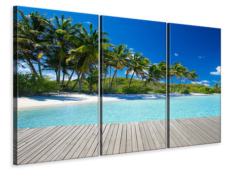 3 Piece Canvas Print Beach Palms
