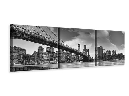 Billede på lærred 3-delt Panoramic Skyline Black And White Photography Brooklyn Bridge NY