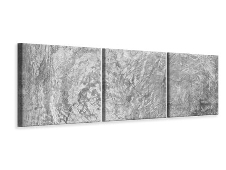 Panoramic 3 Piece Canvas Print Wipe Technique In Gray
