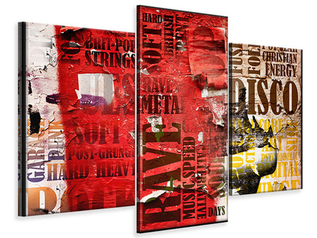 Modern 3 Piece Canvas Print Music Text In Grunge Style