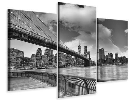 Billede på lærred 3-delt moderne Skyline Black And White Photography Brooklyn Bridge NY