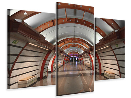 Modern 3 Piece Canvas Print Metro Station