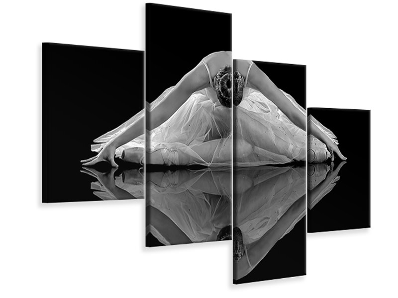 Modern 4 Piece Canvas Print Ballerina Reflection