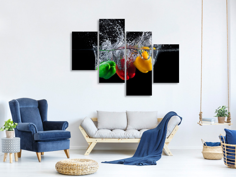 Modern 4 Piece Canvas Print Paprika Splash