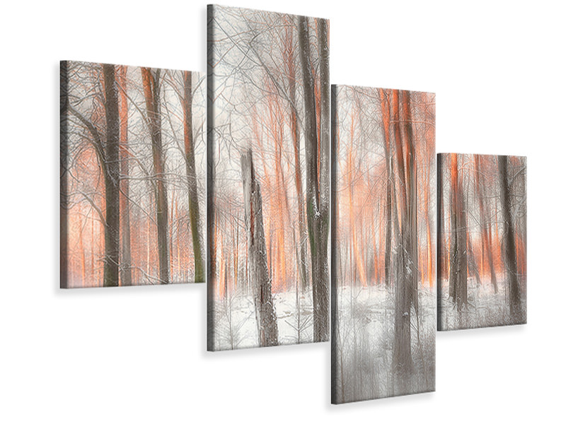 Modern 4 Piece Canvas Print Evening Light