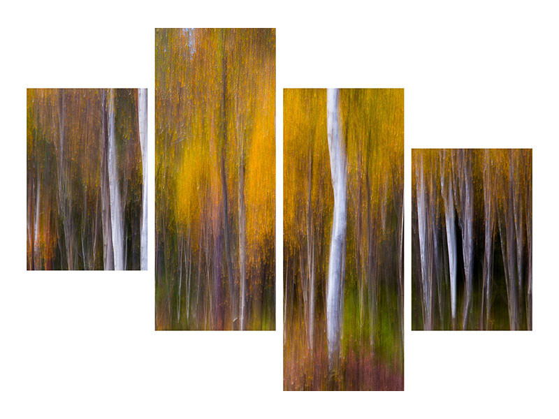Modern 4 Piece Canvas Print Abstract Fall