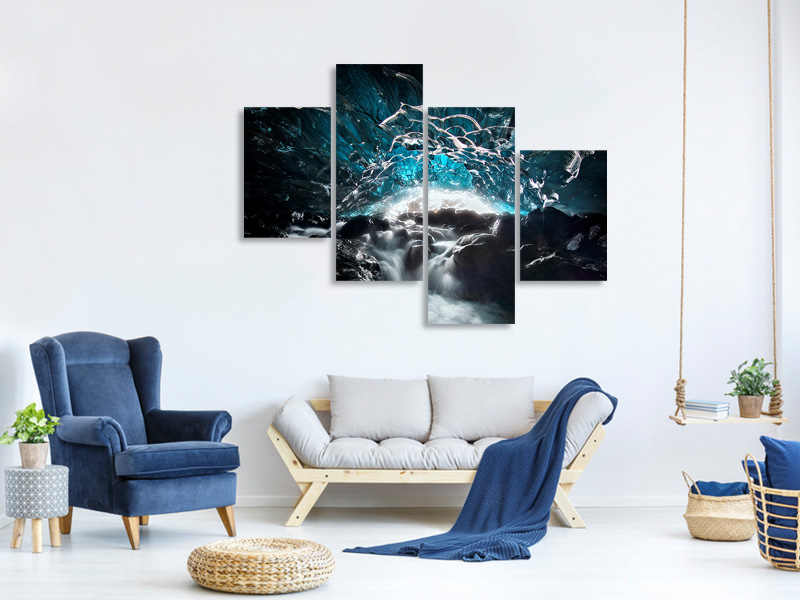 Modern 4 Piece Canvas Print Blue Glacier Cave