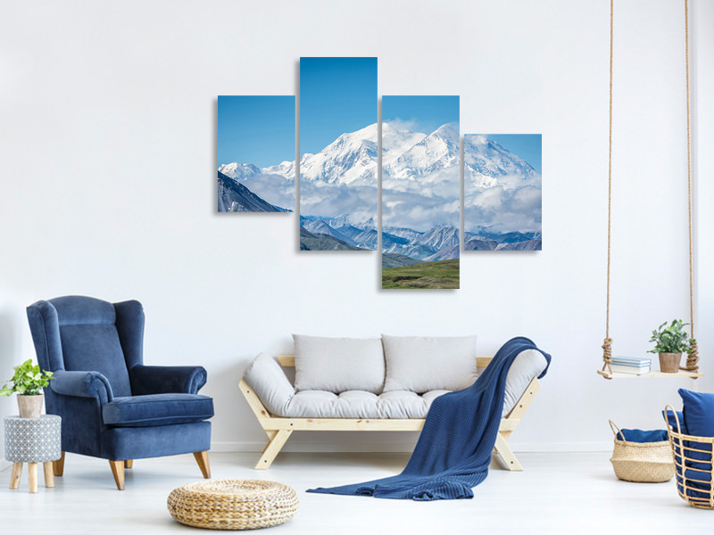 Modern 4 Piece Canvas Print Mt Denali