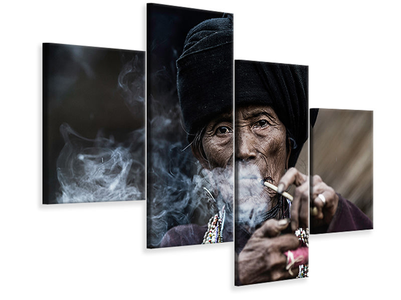 Modern 4 Piece Canvas Print Smoking 2