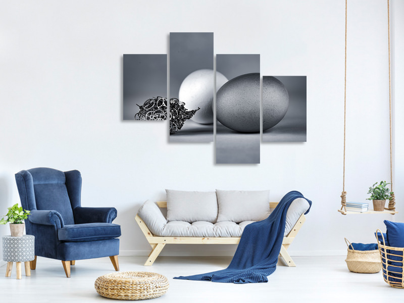 Modern 4 Piece Canvas Print Meeting With The Mechanical Life