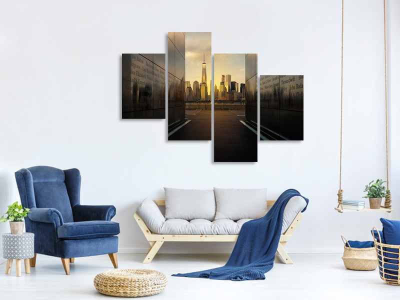 Modern 4 Piece Canvas Print Old