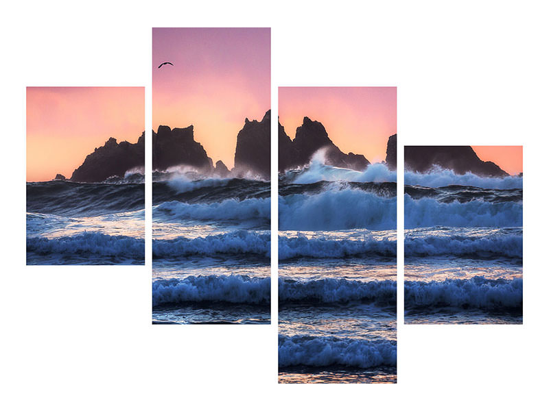 Modern 4 Piece Canvas Print Bandon Beach Layers