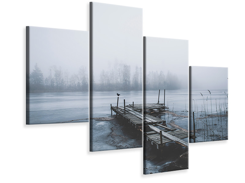 Modern 4 Piece Canvas Print Left For Winter