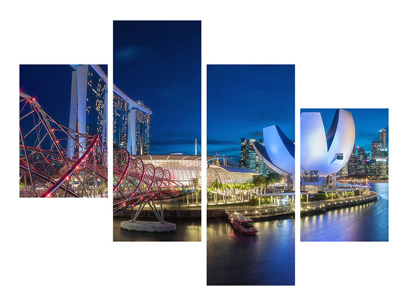 Modern 4 Piece Canvas Print Singapore - Marina Bay Panorama