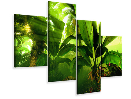 Modern 4 Piece Canvas Print Sunrise In The Rainforest