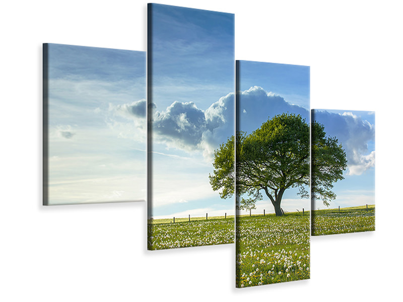 Modern 4 Piece Canvas Print Spring Tree
