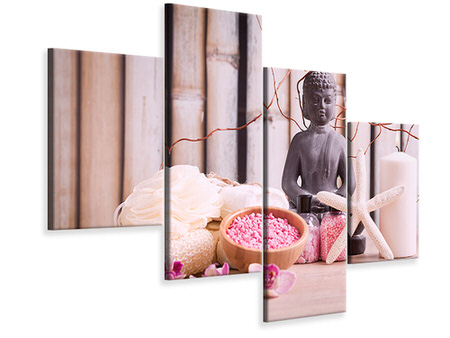Modern 4 Piece Canvas Print Spa & Buddha