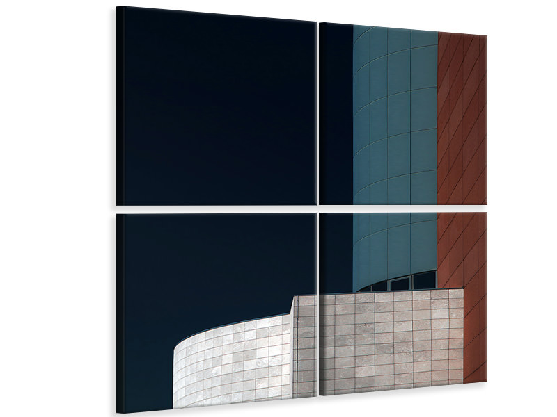 4 Piece Canvas Print Blue Tower