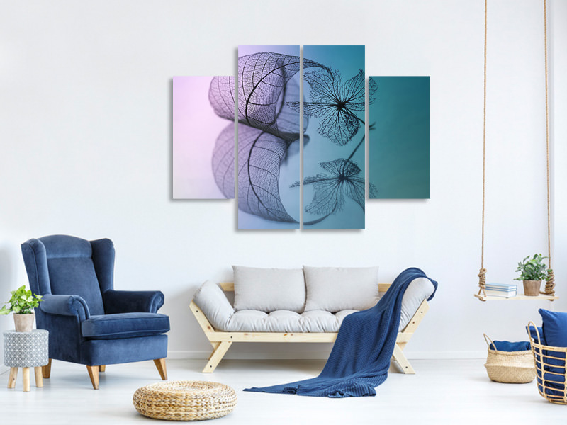 4 Piece Canvas Print Story Of Leaf And Flower