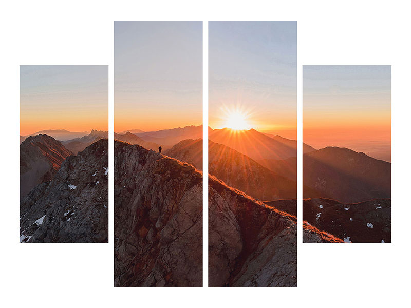 4 Piece Canvas Print Running On The Ridge