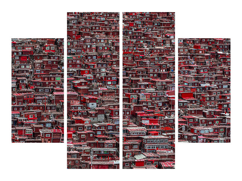 4 Piece Canvas Print Red Houses