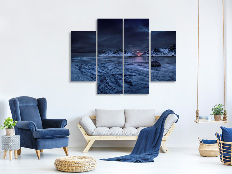 4 Piece Canvas Print Skagsanden Beach Lofoten