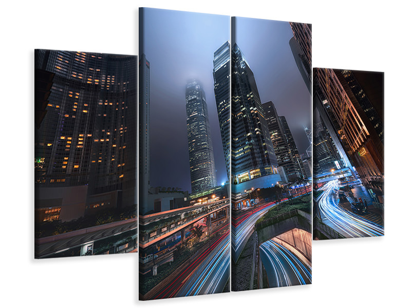 4 Piece Canvas Print Hong Kong City Lights