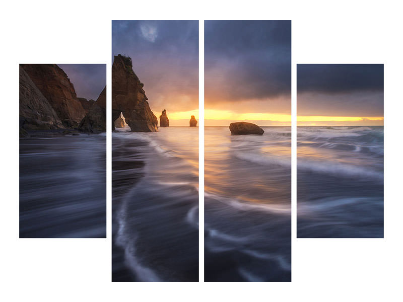 4 Piece Canvas Print Raging Tide