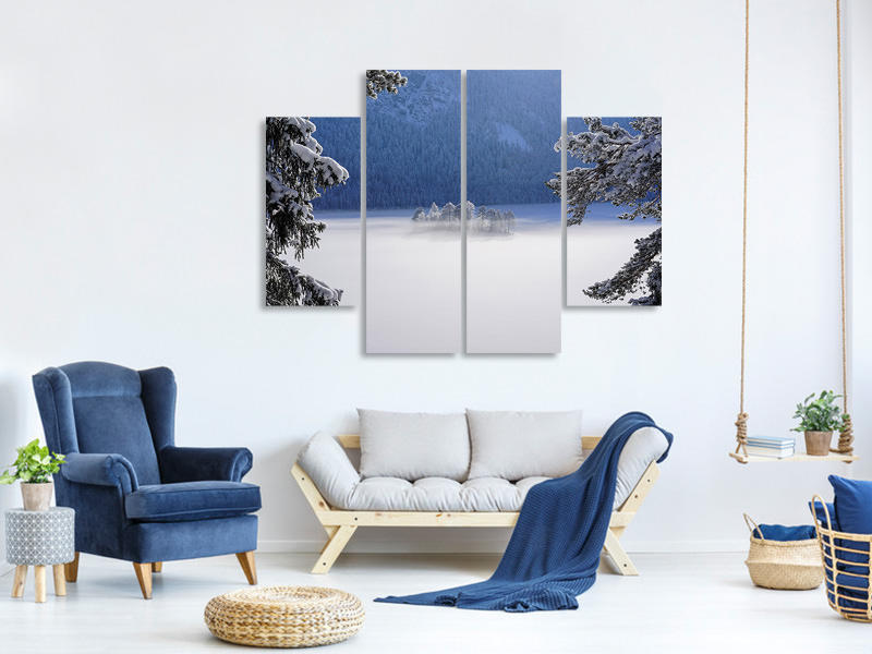 4 Piece Canvas Print Fog Over Frozen Lake