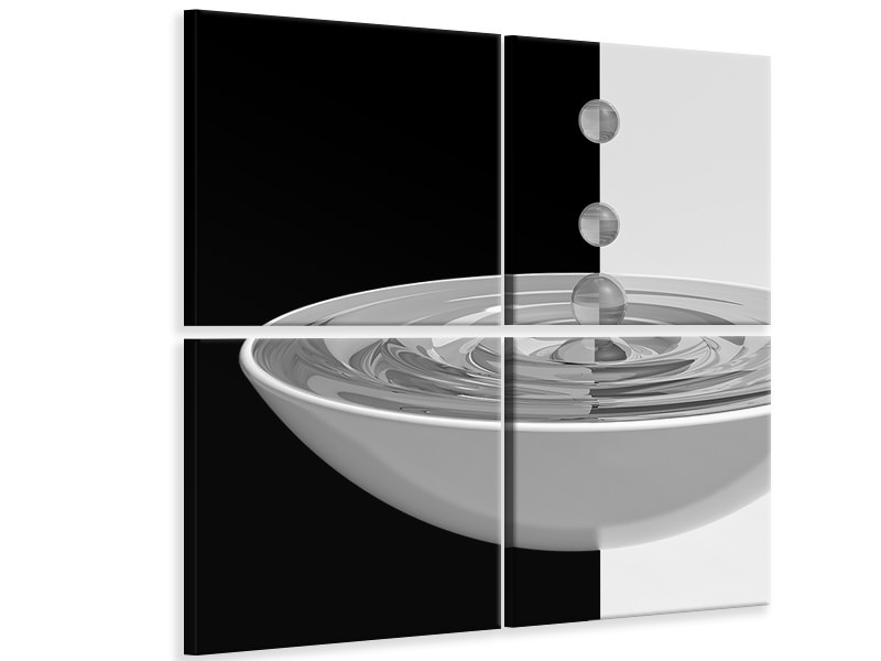 4 Piece Canvas Print Water Reflection