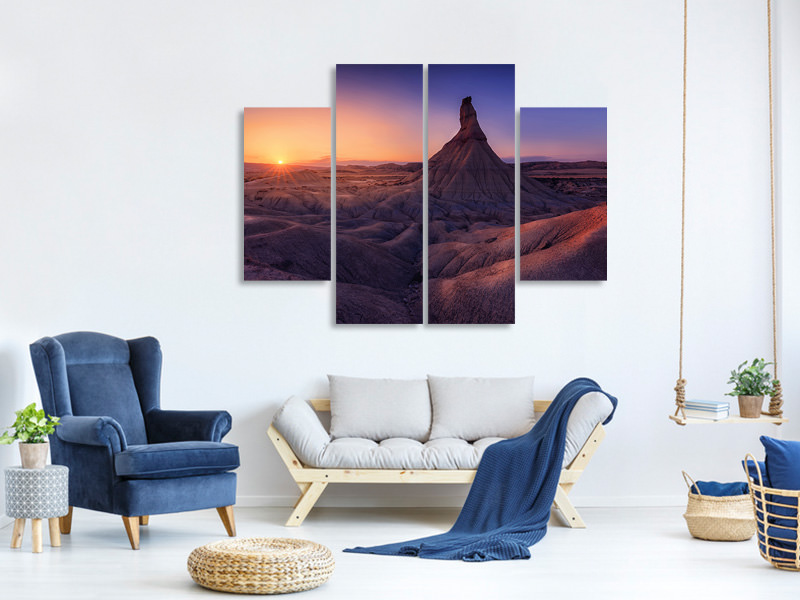 4 Piece Canvas Print Bardenas In Blue