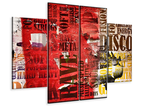 4 Piece Canvas Print Music Text In Grunge Style