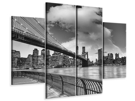 Billede på lærred 4-delt Skyline Black And White Photography Brooklyn Bridge NY