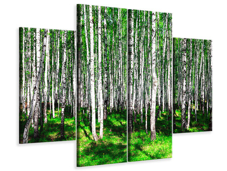 4 Piece Canvas Print Summerly Birch Forest