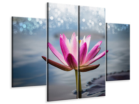 4 Piece Canvas Print Lotus In The Morning Dew