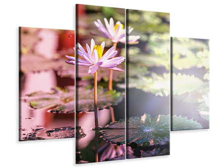 4 Piece Canvas Print Lilies In Pond