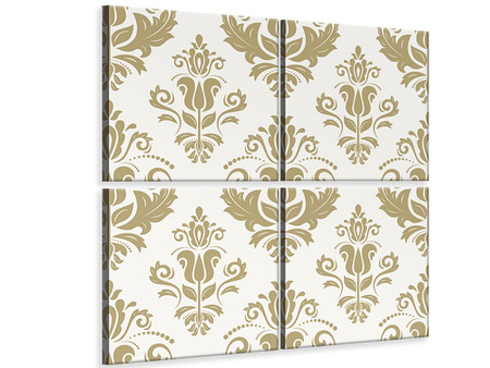 4 Piece Canvas Print Baroque Ornaments